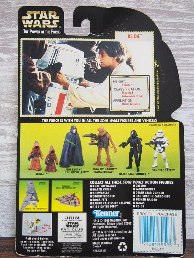 スターウォーズ R5-D4 フィギュア The Power of the Force Kenner 1996のパッケージ裏側-stock.no.2