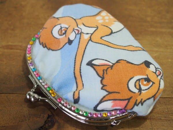 バンビの柄が可愛いハンドメードのがま口の表側