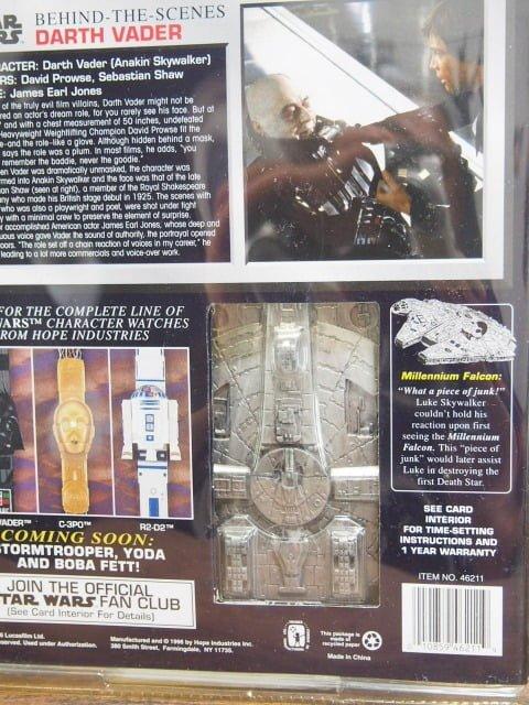 スター ・ウォーズ Collector Timepiece ダースベイダーフェイスウォッチのパッケージ裏側